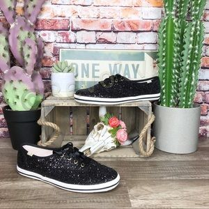 Kate Spade Keds Sneakers Black Glitter New 7.5